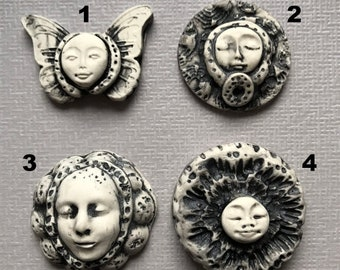 4 Black and White Grunge Polymer Clay Cabochons Molded Faces