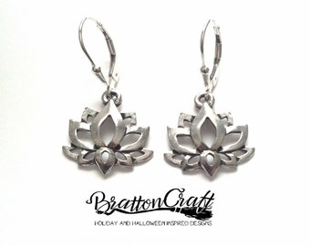 Silver Lotus Flower Earrings - Lotus Flower Earrings - Spiritual Earrings - Yoga Earrings - Zen Earrings - Lotus Earrings