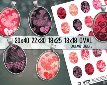 Valentine Oval Digital Collage Sheet Red Pink Black Heart  30x40 22x30 18x25 13x18 Images for Glass Resin Pendants Cameo Paper Craft
