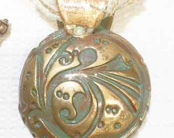 Faux Copper Deco Art Domed Pendant Necklace 17331 OOAK