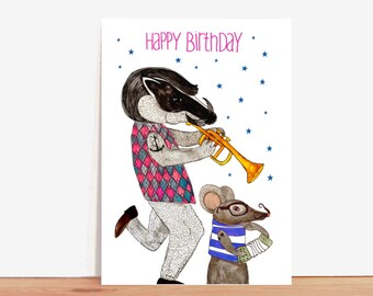 Postcard *happy birthday* with badger and mouse-musicians