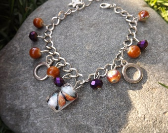 Silver Charm Style Bracelet with Purple and Orange Beads