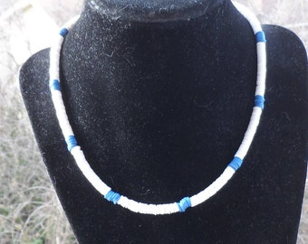 Men's 16 Inch Shell Necklace with White Shells accented with Blue Shells and Swivel Silver Clasp