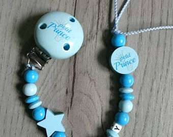 Blue pacifier, little prince personalized star