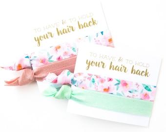 Mint Floral Hair Tie Bridesmaid Gift | Blush Floral Bridesmaid Gift Hair Ties, Bridal Shower Favor, Pink, Aqua Spring Favors