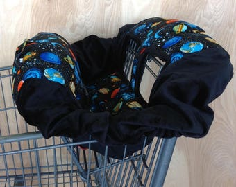 Shopping Cart Cover- Planets/ Black