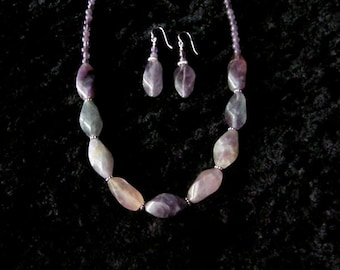 Amethyst and Fluorite Necklace with earrings.