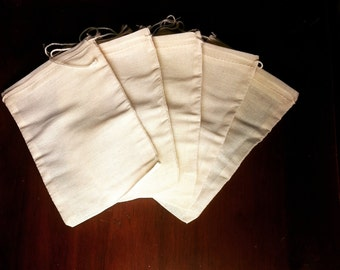 SET OF 20 Large 100% Organic Cotton Muslin Drawstring Bags - All Natural and New