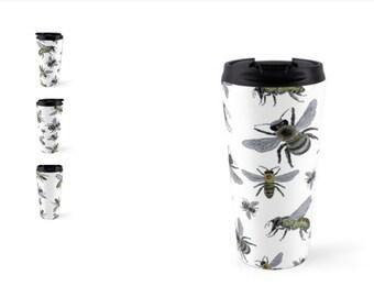 Honey Bee Mug Cup Thermos Travel 15oz