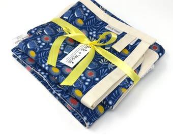Organic Newborn Gift Set - Blue - Organic Baby Blanket - Organic Bib - Organic Security Blanket