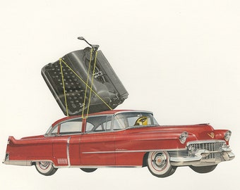 The travel writer. Limited edition collage print by Vivienne Strauss.