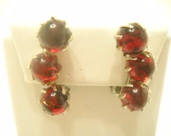 Vintage Burgundy Beaded Clip Earrings (5493)