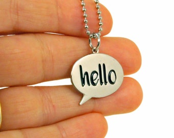 Hello Necklace - Cute Hello Sign Charm Necklace - Hello World Speech Bubble Charm - Gift for Kids - Teen Birthday Gift - Ready to Ship