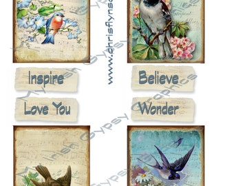 Instant Digital Download, Vintage Birds, Collage Sheet, Make your own Greeting Cards or tags