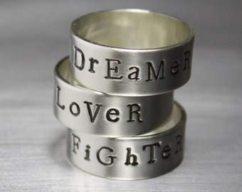 Hand Stamped Ring, Personalized Ring, Word Ring, Motivational Jewelry