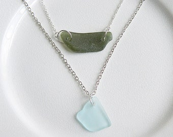 Sea Glass Layered Necklace, Olive Green & Aqua Blue Genuine Beach Glass, Multi Strand Seaglass Necklace