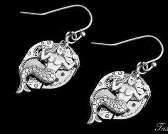 Mermaid Dangle Steampunk Earrings, Long Silver Drop Earrings, Nautical Boho Gift