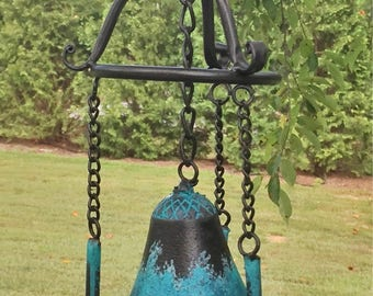 Dragonfly Wind Chime in Oil Rubbed Bronze and Turquoise or Copper Verde Finish, Garden Decor