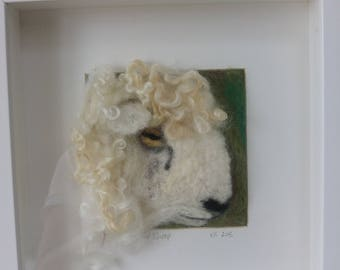 Needle felted Cotswold lamb