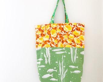 Retro Tote Bag - Funky Flowers 70s Vintage
