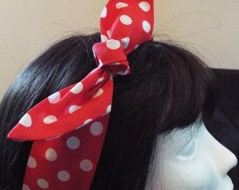 Red and white polkadot spots adult head band hair wrap scarf bandana headwrap