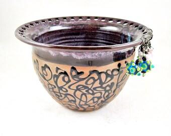 Valentine's day gift, Purple earring bowl, Ceramic Jewelry holder, Pottery Earring holder, Handmade Earring bowl, Earring organizer