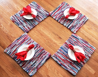Nautical Placemats Americana Artisan Knitted Upcycled TShirts Red Gray Blue Navy Modern Cottage Chic (set of 4)-- US Shipping Included