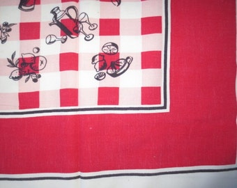 "1950's Rayon Tablecloth // Red White Check with Drinks Design // Picnic Tablecloth...52"" X 60"""