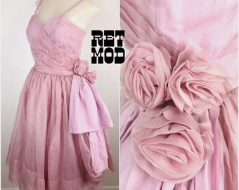 Pretty Pink Princess Dress in Dusty Pink with Floral Rosettes - Prom Party Dress!