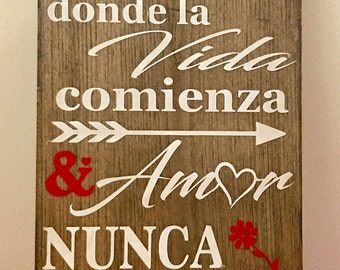 Family Wood Sign in Spanish or English