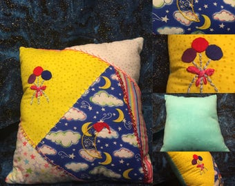 Balloons and Sleepy Moon Quilted Pillow