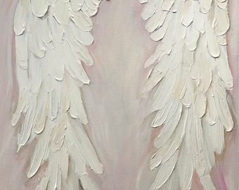 Angel Wings Painting , shabby Chic, gold crown, nursery decor, hand painted angel wings