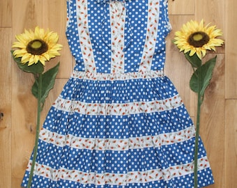 Pretty True Vintage Floral 60s Sleeveless Summer Dress Blue White Spotty Polka Dots Stripes Uk Size 10