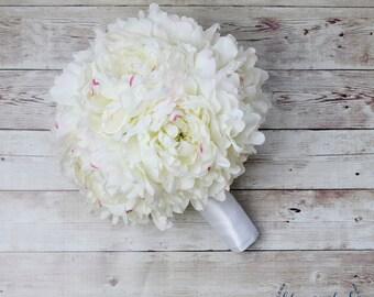 Peony Bouquet, Silk Peony Bouquet, White Peony Bouquet, Extra Large Peony Bouquet, Lush Peony Bouquet, Luxe Peony Bouquet, Silk Peonies