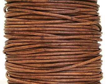Round Leather Cord 2 mm Diameter Natural Light Brown (Length: 5 Yards)