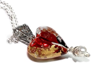 Womans Necklace silver and pearl heart with gold,  contemporary, artsy, Modern, Romantic, Valentine, limited, love, boho, Free shipping!