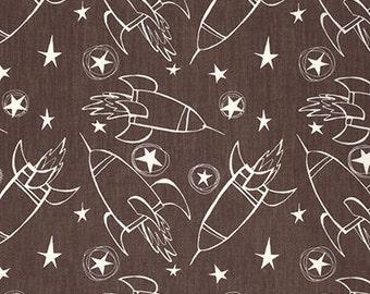 David Walker - Jeans & Things - Spaceships - Brown by Free Spirit Fabrics - you choose the cut