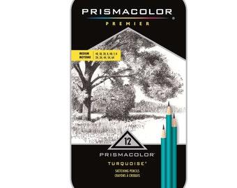 Prismacolor Premier Turquoise Medium Grade Graphite Pencils Set of 12; Drawing, Blending, Shading & Rendering, Prismacolor Arts Crafts