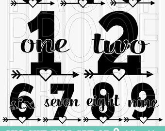 Birthday SVG set--Includes 1 through 9! SVG PNG & jpg formats all included! Arrow svg letter svg arrow number svg birthday shirt