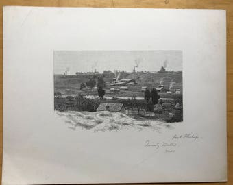 Old Lithograph of Port Phillip Mills, Australia by W C Fitler