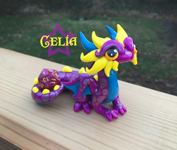 Polymer Dragon Dice Holder- Fuchsia, Teal, and Yellow Orange Dragonling: Celia