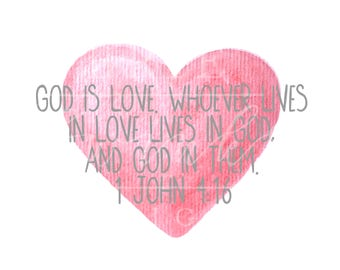 GOD IS LOVE Valentine Watercolor Clipart