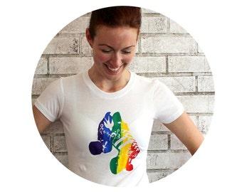 Rainbow Roller Skate Tshirt, Women's Cotton Crewneck Tee Shirt, Gay Pride,gay support tshirt, Roller Derby