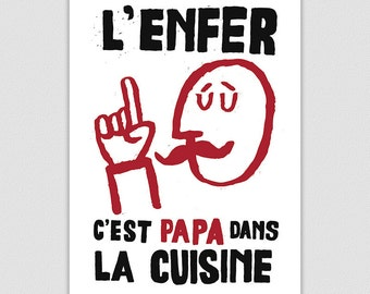 Papa Dans La Cuisine, Kitchen Wall French Style Retro Protest Poster Print, Kitchen Art, Dad, Home Decor, Gift For Cooks And Chefs, Wall Art