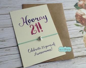 Happy 21st Birthday Friendship Bracelet, 21st Birthday Gift, Hip Hip Hooray, 21st Birthday Bracelet, Daughter 21st Birthday, 21 key wish