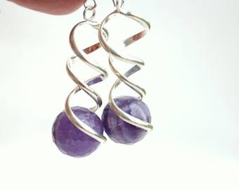 amethyst earrings, long earrings, statement earrings, gift for her
