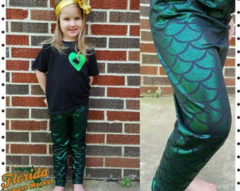 Free shipping Toddler Mermaid Leggings Leggin Pants