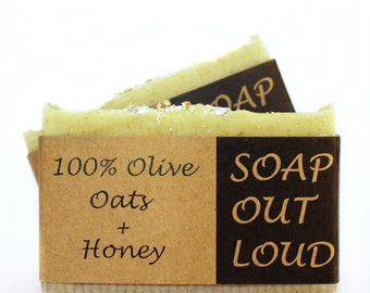 100% Olive + Oats + Honey, Exfoliating Organic Soap, Lavender