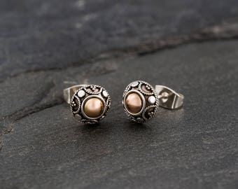 Tribal Silver Stud Earrings With Gold.