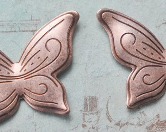 TWO Art Deco Butterfly Stampings, Rose Ox- Supplies by Calliopes Attic